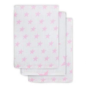 Jollein roze hydrofiel washandjes sterren