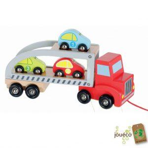 Autotransporter met auto's van hout